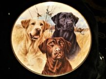 DANBURY MINT GILDED DISPLAY PLATE THREE LABRADORS JIM KILLEN  8""